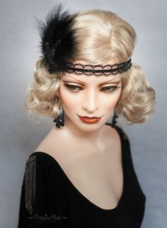 Art Deco Headpiece Flapper Headband Feathers and beaded Lace Fascinator 1920s Great Gatsby 20's Roaring Twenties Vintage Headdress Black by YourPrincessMimi on Etsy https://www.etsy.com/listing/261559642/art-deco-headpiece-flapper-headband