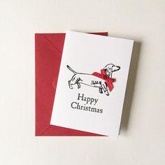 SALE // Happy Christmas Dachshund Lino Printed Greeting Card