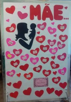 Mural Dia das Mães Painel decoração 16 Lettering, Education, Day, Science, Kids Bible, Infant Crafts, Easy Crafts, School Murals, One Day
