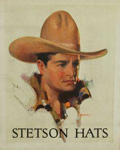 STETSON HAT ADVERTISING WINDOW CARD, COWBOY, CA. 1920