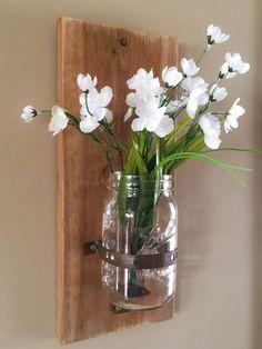 Mason Jar Wood Wall Sconce/Rustic Mason Jar Sconce/Rustic Flower Sconce/Mason Jar Sconces/Mason Jar Vase Sconce/Wall Vase/Candle Sconces