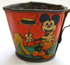 1930s tin tea cup with Mickey Mouse