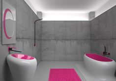 Terrifying bathroom. I'd be expecting to hear GLaDOS yelling at me in the shower. Designed by Karim Rashid.  http://freshome.com/2011/12/19/how-to-become-an-internationally-recognised-design-superstar-with-karim-rashid/