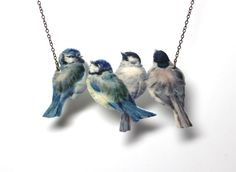 Bird necklace vintage necklace blue necklace Blue Tits por FenandCo