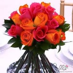 Hot Pink and Orange Roses & Ruscus - Wedding Bouquets and Centerpieces