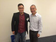費德創辦人Bob(左)與Dr. Winston Town(右)於波士頓台灣生技論壇(Boston Taiwanese Biotechnology Symposium)