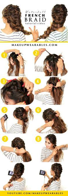Beautiful Waterfall French Braid Hair Tutorial Video | Cute Hairstyles