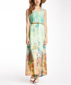 Look what I found on #zulily! Green & Yellow Floral Belted Maxi Dress by Papillon Imports #zulilyfinds