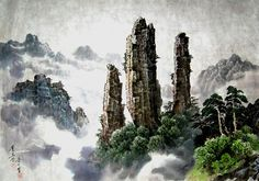 (North Korea) Mt Chilbo by Song Si-yeop (1934~   ). Korean painting.