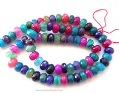 Multi Coloured Crackled Agate Rondelles Beads