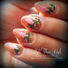 Style Those Nails: Weekend Mani - Woods and Vine !!#weekendnails #watermarblenails #floralnails #springnails #freehandnails