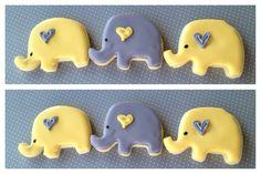 Yellow and Gray elephant herd - sugar cookies