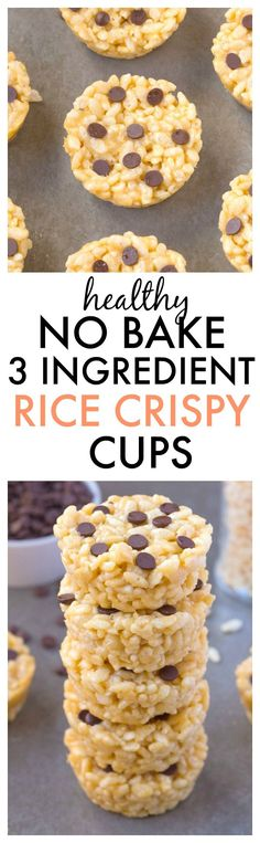 Healthy 3 Ingredient NO BAKE Rice Crispy Cups made in a muffin tin, ready in…