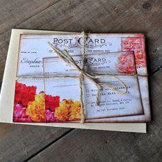floral vintage postcard wedding invitation by feel good wedding invitations | notonthehighstreet.com