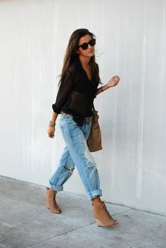 boyfriend jeans, black blouse