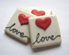 Valentines Day Cookies by Ollieleightx on Etsy Valentines Day Cookies, Valentine Treats, Holiday Cookies, Fondant Cookies, Royal Icing Cookies, Cupcake Cookies, Fancy Cookies, Iced Cookies, Sugar Cookies