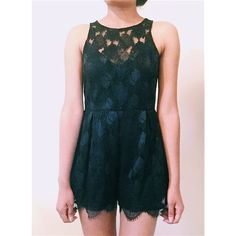 SweetHeart Neckline Black Lace Romper Black Lace. SweetHeart Neckline. Top of the Neckline Is See Through. Floral Lace. Lace Trims at the Bottom of Shorts. Small Measurements- Shoulder to Bottom:28'. Under the arms across: 15'.  Waist Across: 14'. Pants Jumpsuits & Rompers