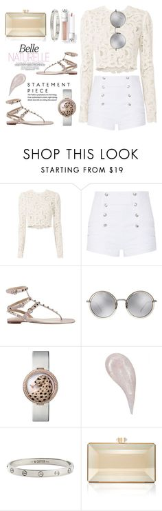 """White on White"" by beccalumint ❤ liked on Polyvore featuring A.L.C., Pierre Balmain, Valentino, Linda Farrow, Cartier and Judith Leiber"