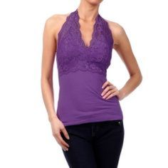 💜LACE HALTER💜 Very flattering with beautiful lace. Halter top has sewn in cups so no bra is required. Tops