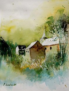Watercolor Sosoye Painting by Pol Ledent