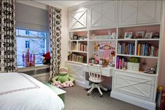 Love this white desk/shelving unit in this girl's room by Christina Murphy.