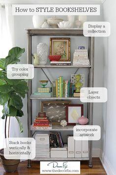 Super Home Office Bookshelves Bookshelf Styling Shelves Ideas Styling Bookshelves, Decorating Bookshelves, Office Bookshelves, Bookcases, Organize Bookshelf, Arranging Bookshelves, Rustic Bookshelf, Bookshelf Organization, Bookshelf Ideas
