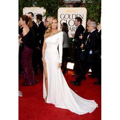 """white """"red carpet"""" dresses   Heidi Klum White Formal Dress at 2013 Golden Globe Awards Red Carpet"""