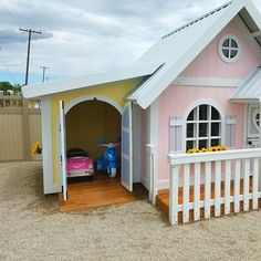 Dazzling DIY Playhouse Plans [Free] And how about that Toy Garage?And how about that Toy Garage? Girls Playhouse, Backyard Playhouse, Build A Playhouse, Backyard Playground, Backyard For Kids, Diy For Kids, Kids Playhouse Plans, Childrens Playhouse, Outdoor Playhouse For Kids