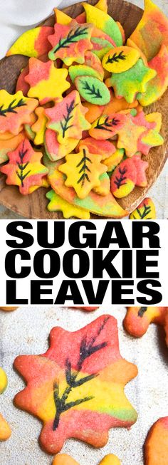 Quick and easy FALL COOKIES, ready in 30 minutes. These decorated Fall leaf cookies are crispy and crunchy and great for Autumn and Thanksgiving parties. From cakewhiz.com #cookies