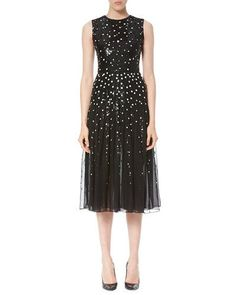 W0G06 Carolina Herrera Dotted Sequin Tulle Cocktail Dress, Black/White