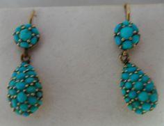 Victorian? Turquoise Drop Earrings 2.2cm Drop 2.2g A596717 | eBay