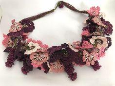 Salmon flower choker, pulms pendant, bohemian hairband, rustic necklace, crochet    eBay