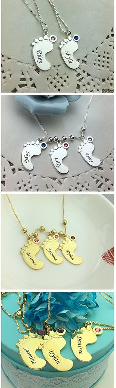 Personalized Mothers Necklace Baby Feet Charm  Engrave up to five baby feet charms with the names of the children and include a birthstone for each baby feet pendant. It is a great gift for mom any time of the year, including birthdays, Mother's Day, or Christmas.