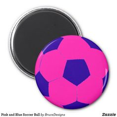 b96e2d13caf8 Pink and Blue Soccer Ball Magnet