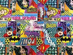 Girl Power II Fabric / Wonder Woman, Bat Girl, Super Girl Fabric  / 1 Yard Cuts - 1/2 Yard Cuts - Fat Quarters - Camelot Fabrics by SewWhatQuiltShop on Etsy