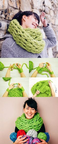 Diy infinity scarf craft ideas bufandas infinito, manualidades, t Knitting Projects, Crochet Projects, Knitting Patterns, Craft Projects, Sewing Projects, Crochet Patterns, Craft Ideas, Yarn Crafts, Diy Crafts