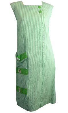 Green and White Seersucker Sleeveless Shift Dress w/ Daisy Appliques circa 1960s Dorothea's Closet Vintage Clothing
