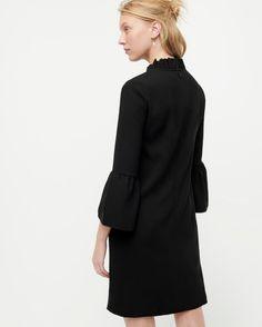Black Ruffle Neck Crepe Shift Dress, Little Black Dress! Chunky Oversized Sweater, Striped Turtleneck, Black Pleated Midi Skirt, Crew Clothing, Tomboy Fashion, Fall Fashion, Cap Dress, Dress Cuts, Black Ruffle