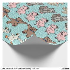 Cute Animals Just Gotta Dance - This heavy-weight wrapping paper has one of the happiest looking pattern we've ever seen! On an light aqua sketched grid are rows of the most adorable #dancing_animals, kicking up a storm & joyous w/ music in their hearts & minds. Perfect for wrapping up #childrens_birthday presents, for #baby_showers & for all your gifts intended for the young at heart! Pattern includes geese, teddy bears, pigs, kitty cats, dogs & elephants; each one made special by IconDoIt.
