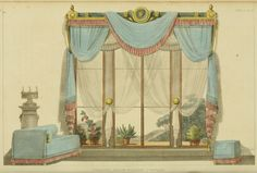 EKDuncan – My Fanciful Muse: Regency Furniture 1809 Ackermann's Repos… EKDuncan – My Fanciful Muse: Regency Furniture 1809 Ackermann's Repository Series 1 Small Curtains, Window Drapes, Drapes Curtains, Room Window, Valances, Regency House, Regency Era, Regency Furniture, Vintage Furniture