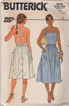 Butterick 6610 1980s Misses Fast and Easy Sun Dress shoulder straps and criss cross open back womens vintage sewing pattern by mbchills