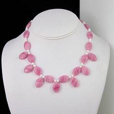 Short small 14 inch choker rose pink white beaded opalite Czech | Thesingingbeader - Jewelry on ArtFire