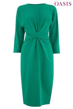 Zielona sukienka drapowana w talii Oasis Wiggle