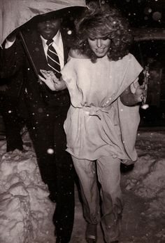 Farrah Fawcett going entering Studio 54.