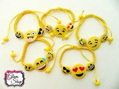 Emoji Bracelets Set of 5 Birthday Party Favors by GlamShopBeads