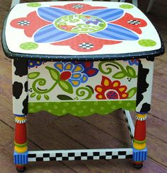 The Decorative Paintbrush, Designs by Mary Mollica: A Funky Floral Mandala Table
