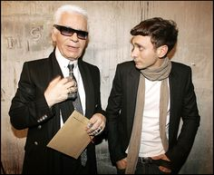Awesome People hanging out together: Hedi Slimane & Karl Lagerfeld | Karl said he lost weight to dress up properly Hedi creations