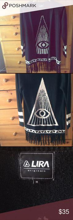 Lira all seeing eye cardigan Black and cream all seeing eye sweater cardigan. Sweaters Cardigans