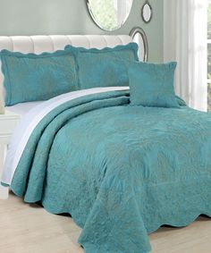 Serenta Damask 4 Piece Bed Spread Set in Teal! Complete four piece set comes with the bedspread, two pillow shams, and one throw pillow. The Damask Embroidered Bedspreads are elegant and classic but these are made of high quality microfiber that is ultra soft and durable. The Damask pattern quilted embroidered bedspread is a unique bedspread that can be used to sleep under as well as makes any bed look like a fantastic center piece. #Damask