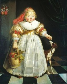 .:.  1634 Harmen Willems Wieringa (Dutch painter, c 1597-1645) Portrait of Ida Catharina van Paffenrode with a Dog and a Basket of fruit.  She stands in a safe interior